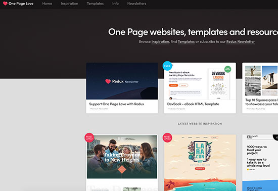 One Page websites, templates and resources Rezourze.com