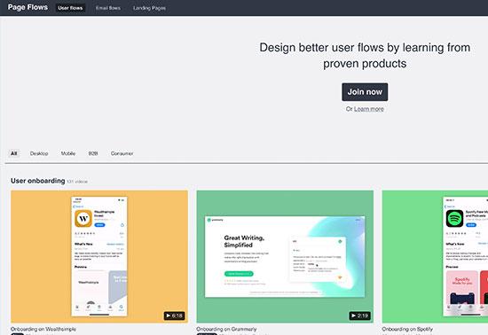 Page Flows - user flow design inspiration Rezourze.com