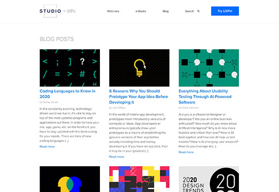 Studio by UXPin - Free Resources from the creators of UXPin Rezourze.com