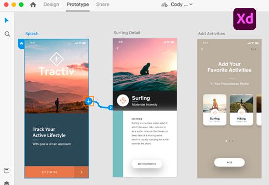 UI/UX design and collaboration tool, Adobe XD, Prototyping Tool