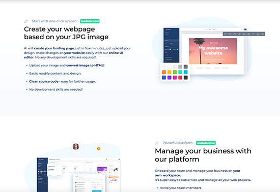 Fronty, Image to HTML converter, AI create website in minutes