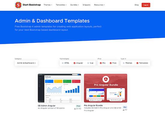 Angular Admin Theme - Start Bootstrap