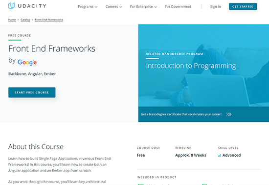 Front End Frameworks - Udacity Free Courses