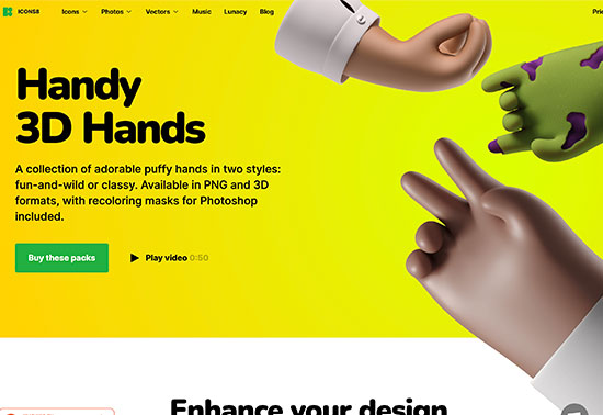 Handy 3D Hands - Icons8