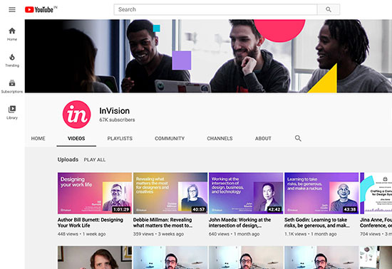 InVision YouTube Channel