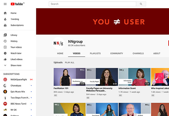 NNgroup Youtube Channel