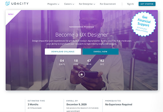 Online User Experience (UX) Design Course, Udacity