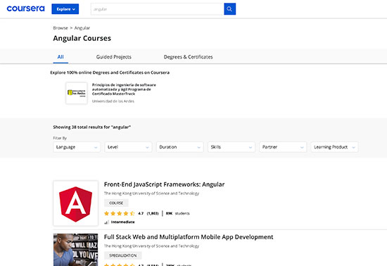 Top Angular Courses - Coursera