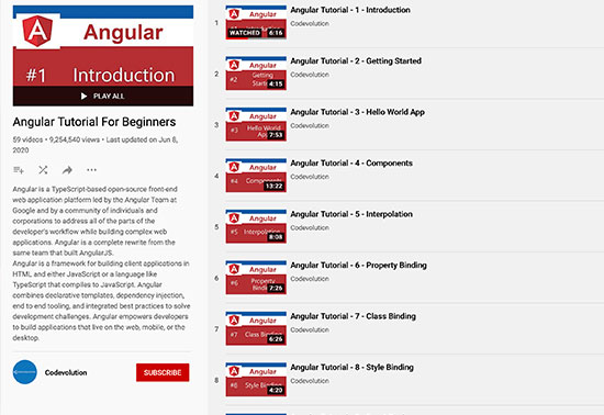 Codevolution - Angular Tutorial For Beginners