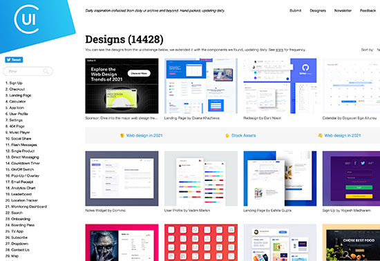 Collect UI, design patterns, Daily inspiration collected from daily ui archive