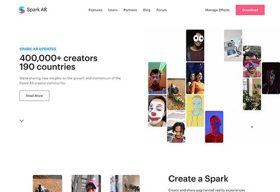 Spark AR Studio, Create Augmented Reality, Facebook